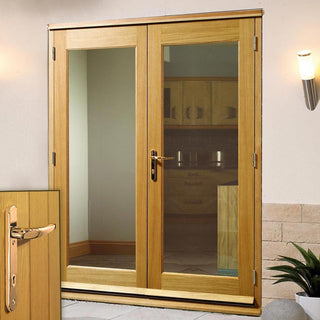 Image: La Porte Oak French Door Pair & Frame with Brass Fittings