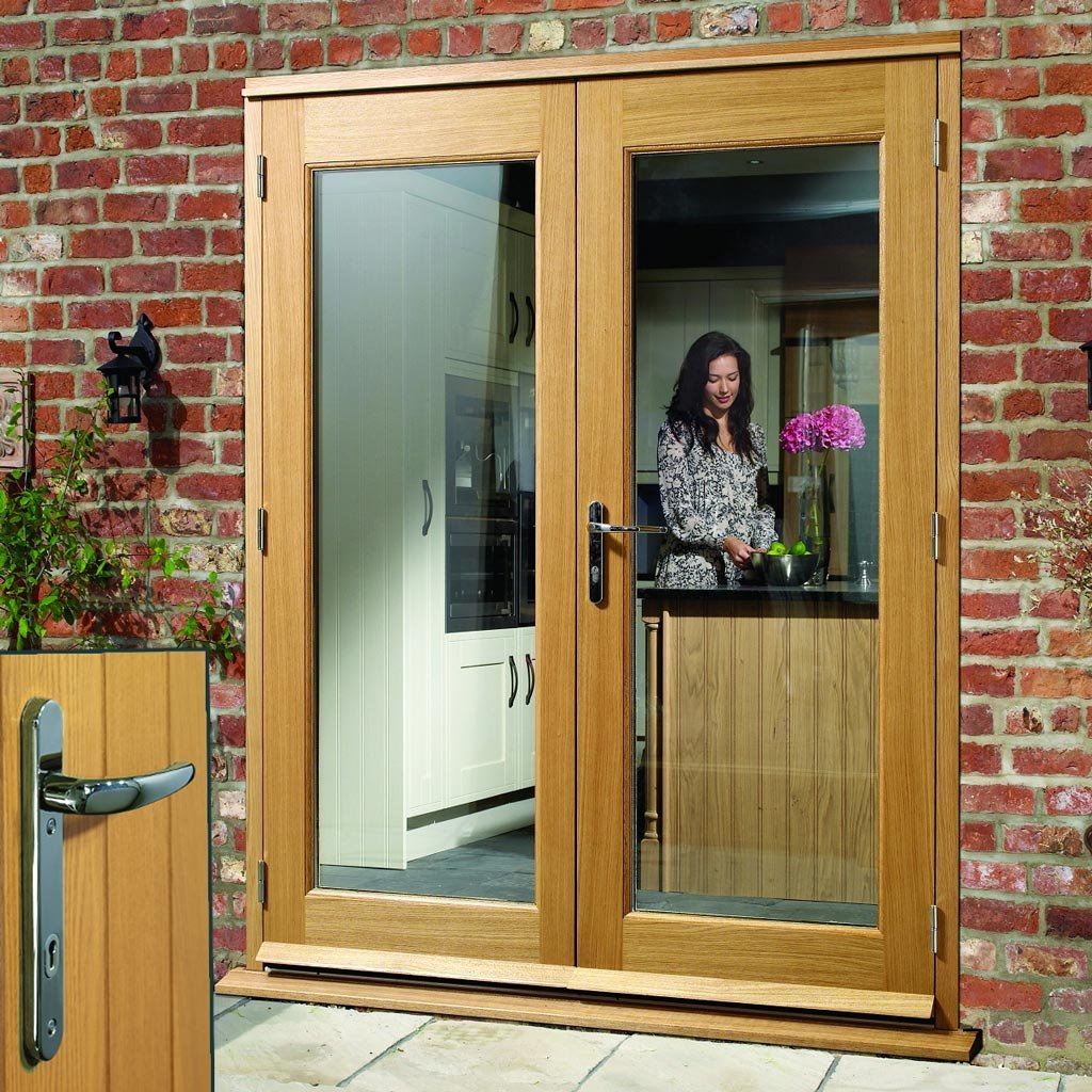 La Porte Oak French Door Pair & Frame Set - Chrome Fittings