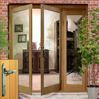 Image: La Porte Oak French Door Pair & Side Frame Right with Chrome Fittings