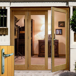 Image: La Porte Oak French Door Pair & Side Frame Left with Chrome Fittings