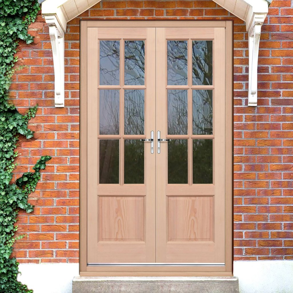 Exterior hemlock gtp 2 panel door pair fit your own glass - How wide are exterior french doors ...