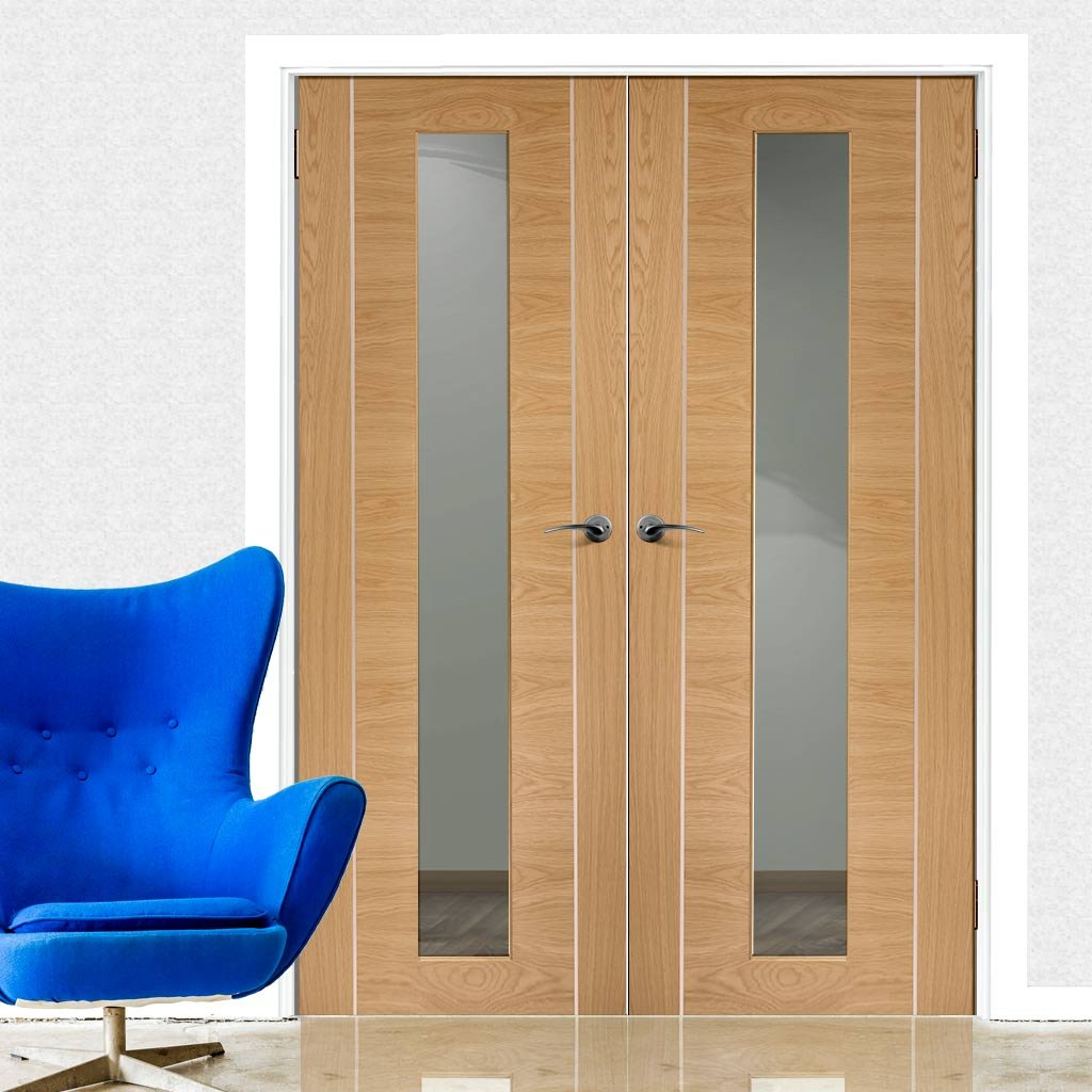 Forli Oak Flush Door Pair - Inlay & Clear Glass - Prefinished