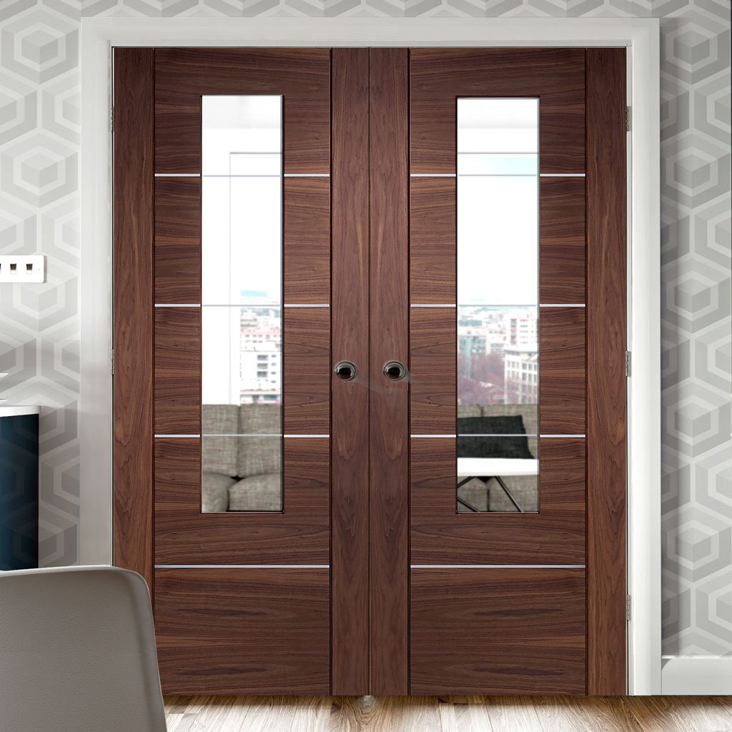 Portici Walnut Door Pair - Aluminium Inlay - Clear Glass - Prefinished