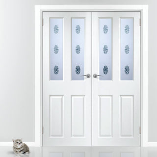 Image: Grainger Internal PVC Door Pair with Gaines Sandblasted Glass