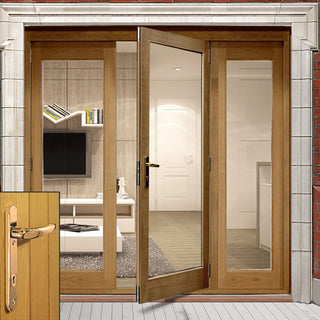 Image: La Porte Oak French Door Pair & Side Frame Right with Brass Fittings