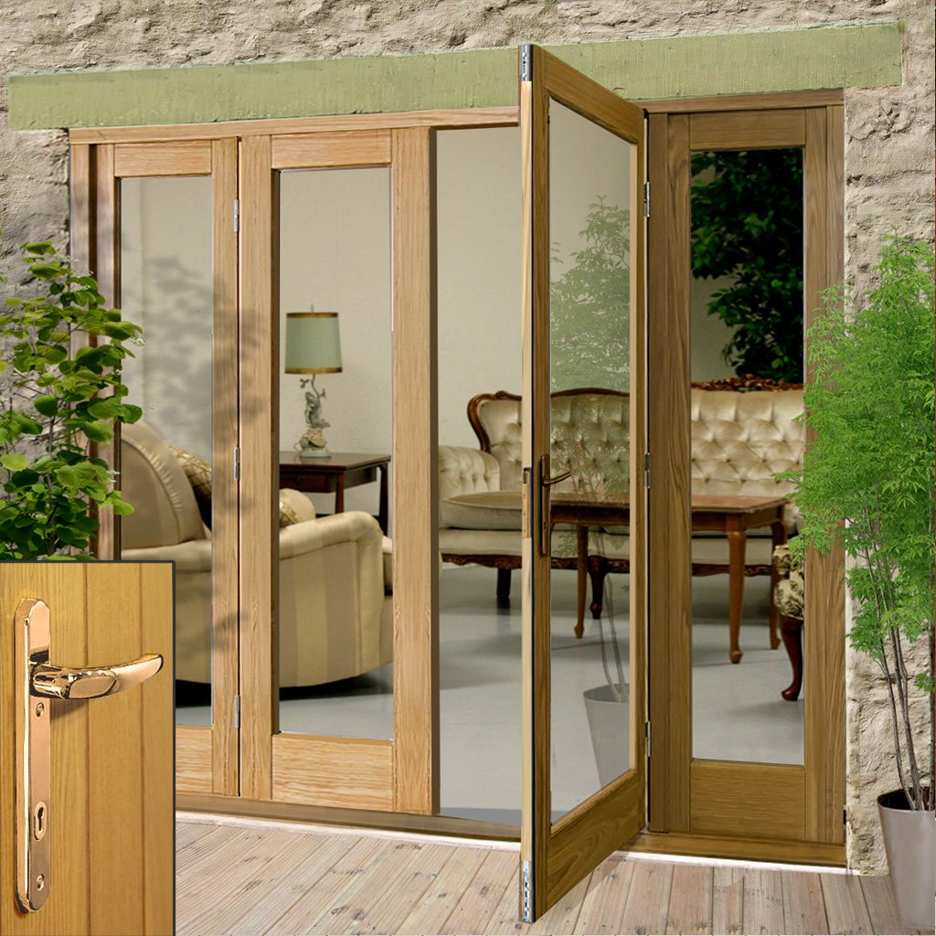 La Porte Oak French Door Pair & Twin Side Frame - Brass Fittings