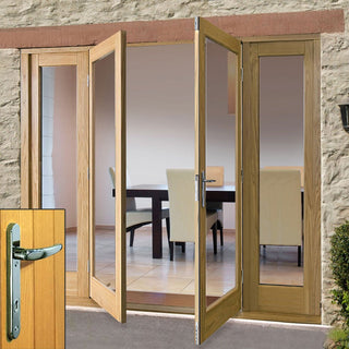 Image: La Porte Oak French Door Pair & Twin Side Frame - Chrome Fittings