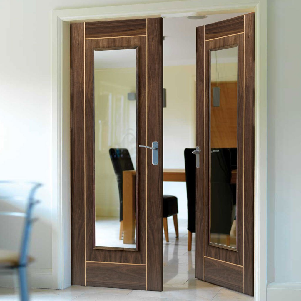 J B Kind Valcor Walnut Door Pair - Oak Inlays - Clear Glass - Prefinished