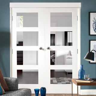 Image: Shaker 4 Pane White Primed Door Pair - Clear Glass