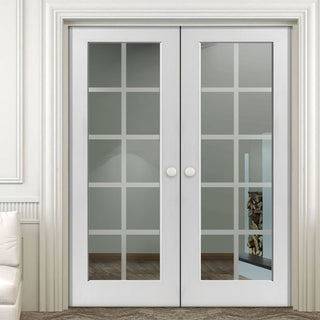 Image: J B Kind Decca White Primed Door Pair - Etched Lines on Clear Glass
