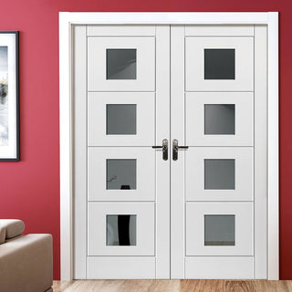 Image: J B Kind Quattro Smooth Moulded Panel Door Pair - Clear Glass - White Primed