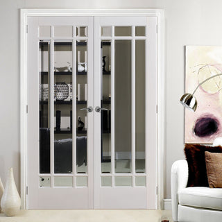 Image: Manhattan Door Pair - Bevelled Clear Glass - White Primed