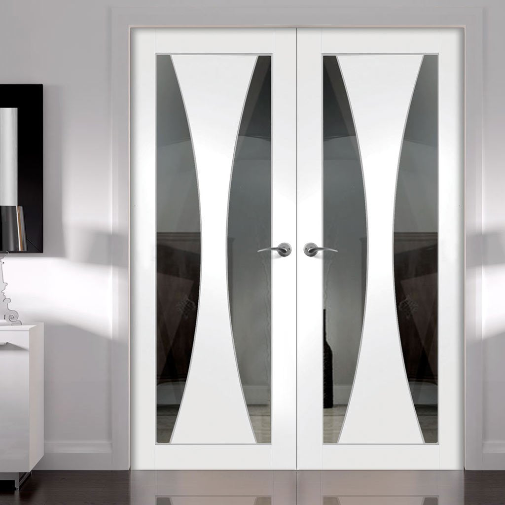 Verona White Primed Door Pair - Clear Glass