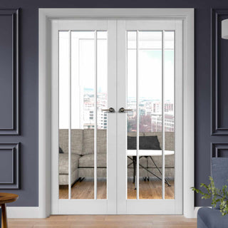 Image: Worcester White Primed French Door Pair - Clear Glass
