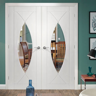 Image: Pesaro Flush Door - White Primed Pair - Clear Glass