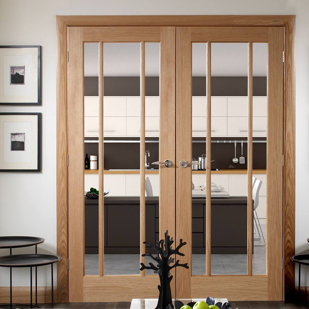 Oak Worcester Door Pair Standard Sizes Clear Glass
