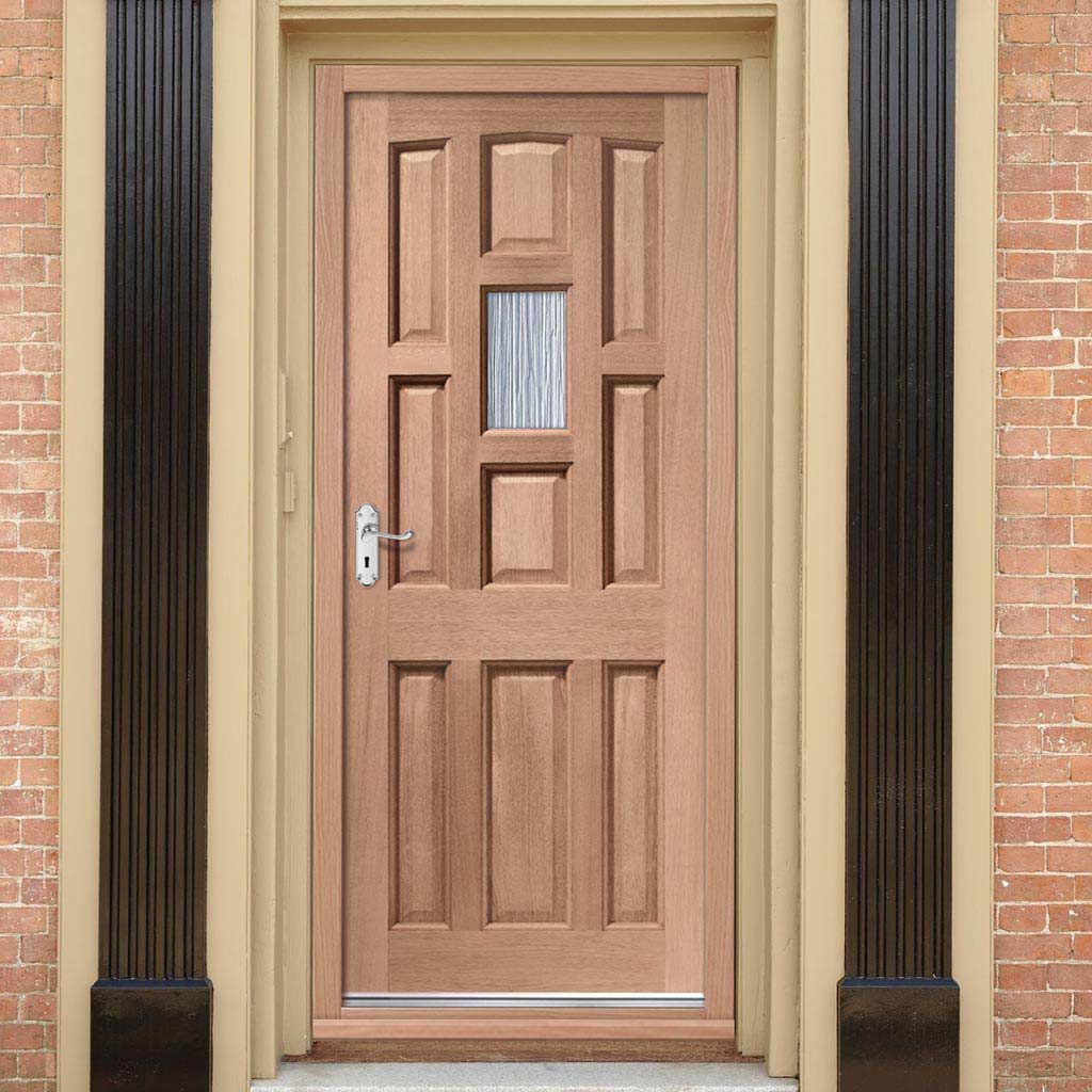 York Mahogany Door - Toughened Single Frosted Glass