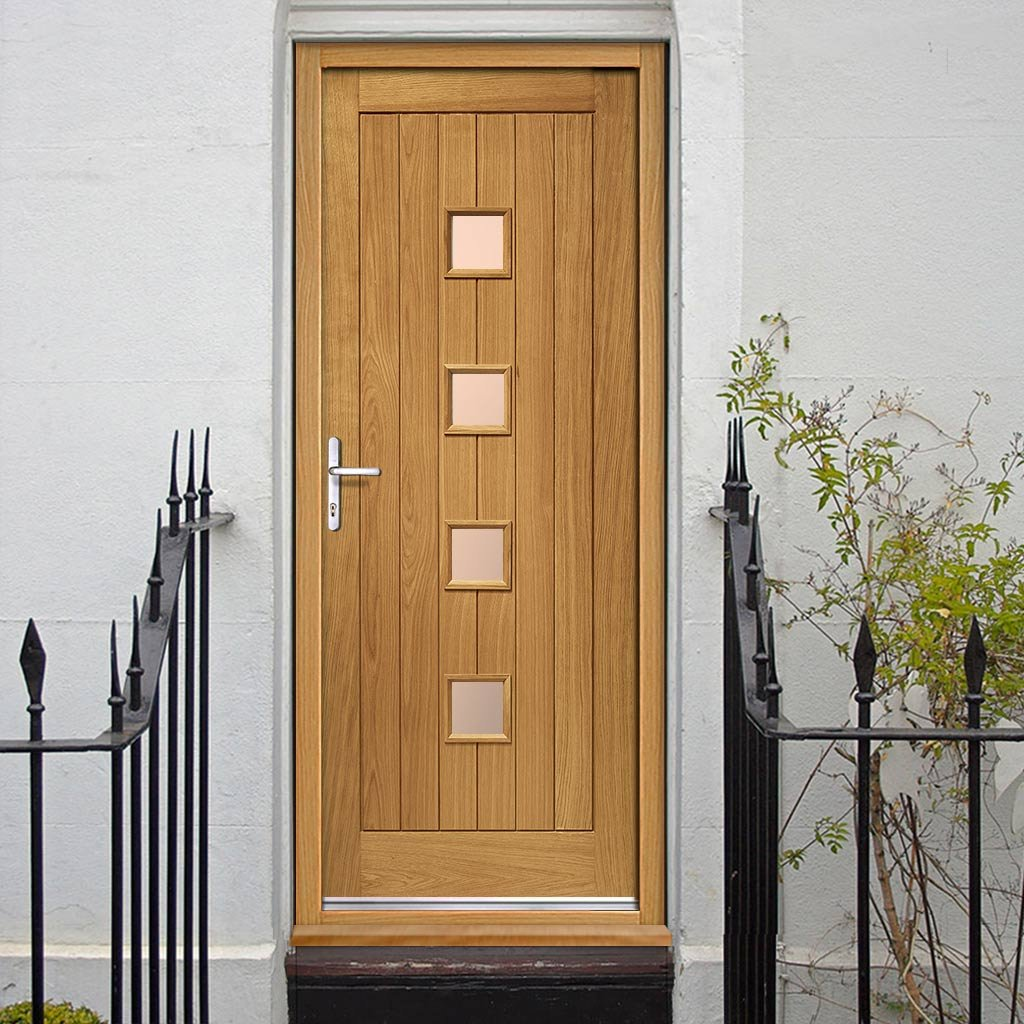 Siena External Oak Door and Frame Set - Frosted Double Glazing