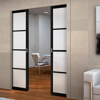 Image: Bespoke Double Pocket Door WK6308 - Frosted Glass - 2 Prefinished Colour Choices