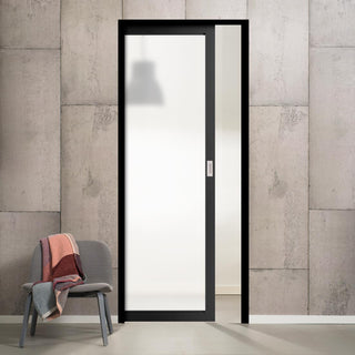 Image: Bespoke Single Pocket Door WK6301SG - Frosted Glass - 2 Prefinished Colour Choices