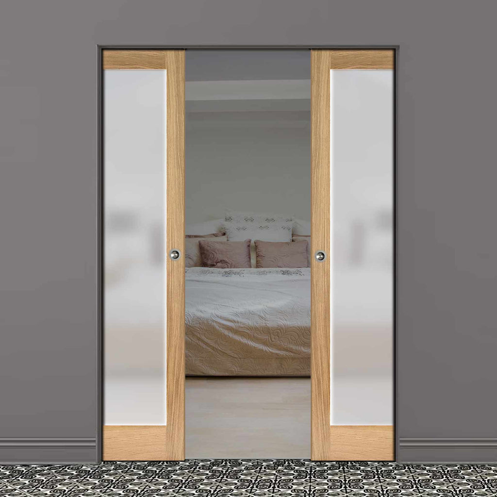 Pattern 10 Oak Absolute Evokit Double Pocket Doors - Full Pane Frosted Glass - Unfinished