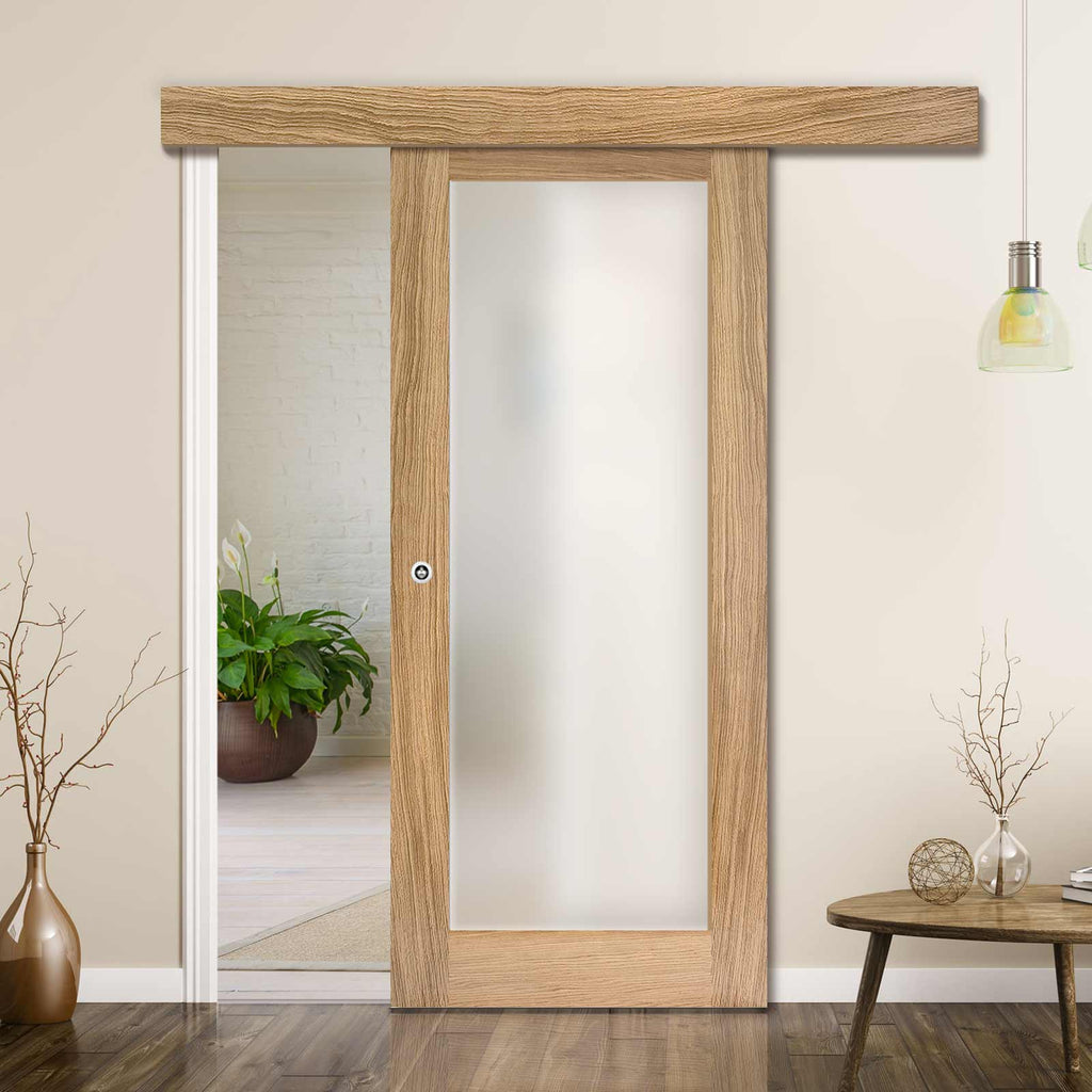 Single Sliding Door & Wall Track - Pattern 10 Oak Door - Frosted Glass - Unfinished