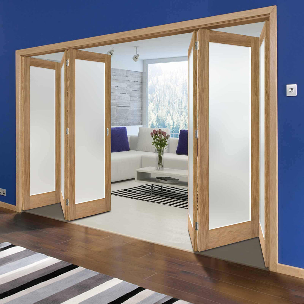 Six Folding Doors & Frame Kit - Pattern 10 Oak 3+3 - Frosted Glass - Unfinished
