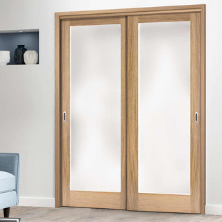 Image: Thruslide Pattern 10 Oak 2 Door Wardrobe and Frame Kit - Full Pane Frosted Glass
