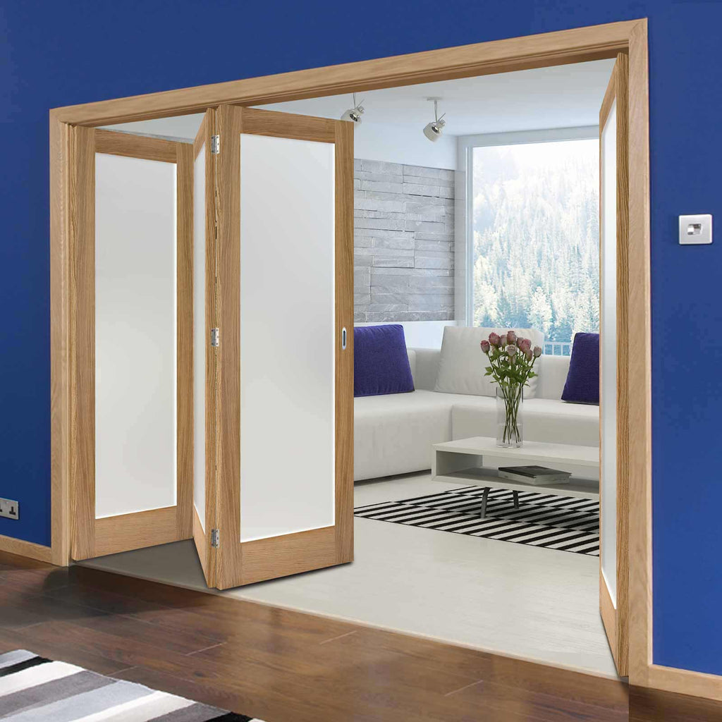 Four Folding Doors & Frame Kit - Pattern 10 Oak 3+1 - Frosted Glass - Unfinished