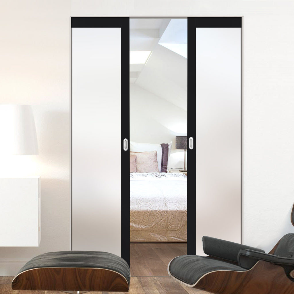 Bespoke Double Frameless Pocket Door WK6301SG - Frosted Glass - 2 Prefinished Colour Choices
