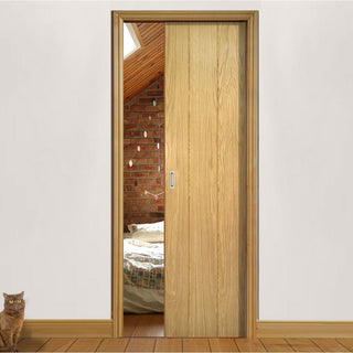 Image: Galway Real American Oak Veneer Single Evokit Pocket Door - Unfinished