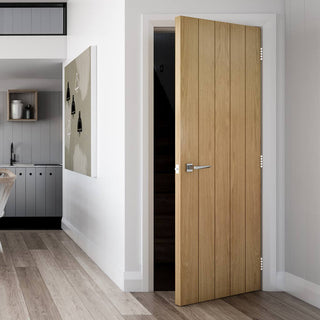 Image: Galway Real American Oak Veneer Fire Door - 1/2 Hour Fire Rated - Unfinished