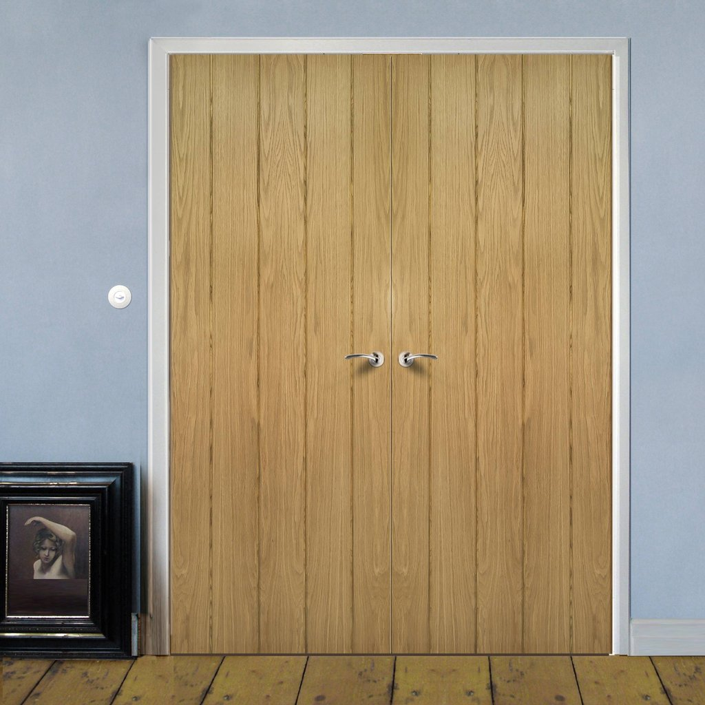 Galway Real American Oak Veneer Door Pair Unfinished