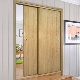 Image: Two Sliding Doors and Frame Kit - Galway Real American Oak Veneer Door Unfinished