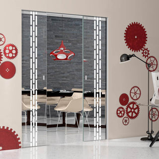 Image: Garvald 8mm Clear Glass - Obscure Printed Design - Double Absolute Pocket Door