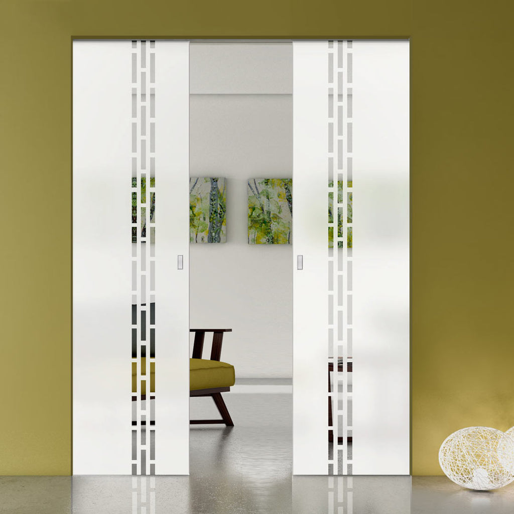 Garvald 8mm Obscure Glass - Clear Printed Design - Double Absolute Pocket Door