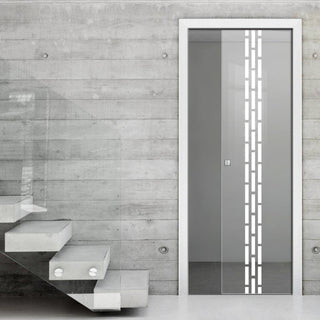 Image: Garvald 8mm Clear Glass - Obscure Printed Design - Single Evokit Glass Pocket Door