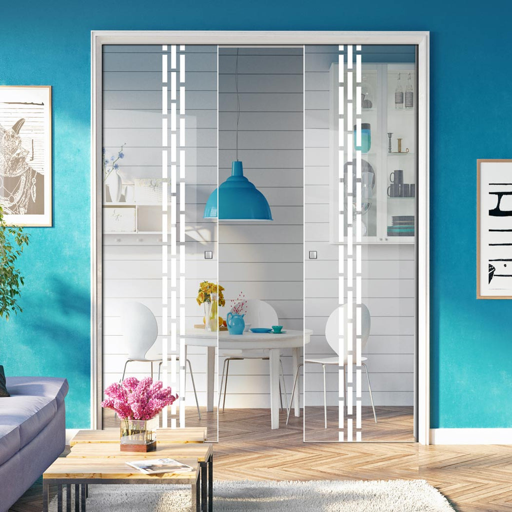 Garvald 8mm Clear Glass - Obscure Printed Design - Double Evokit Pocket Door