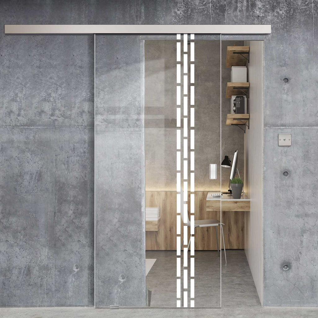 Single Glass Sliding Door - Garvald 8mm Clear Glass - Obscure Printed Design - Planeo 60 Pro Kit