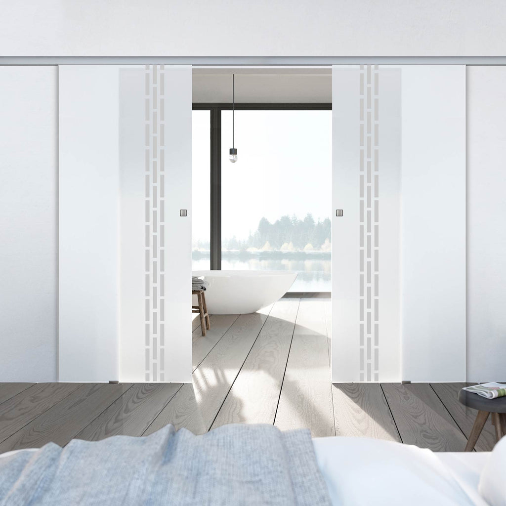 Double Glass Sliding Door - Garvald 8mm Obscure Glass - Obscure Printed Design - Planeo 60 Pro Kit