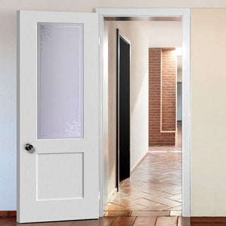 Image: White PVC shaker internal door geneva sandblasted glass