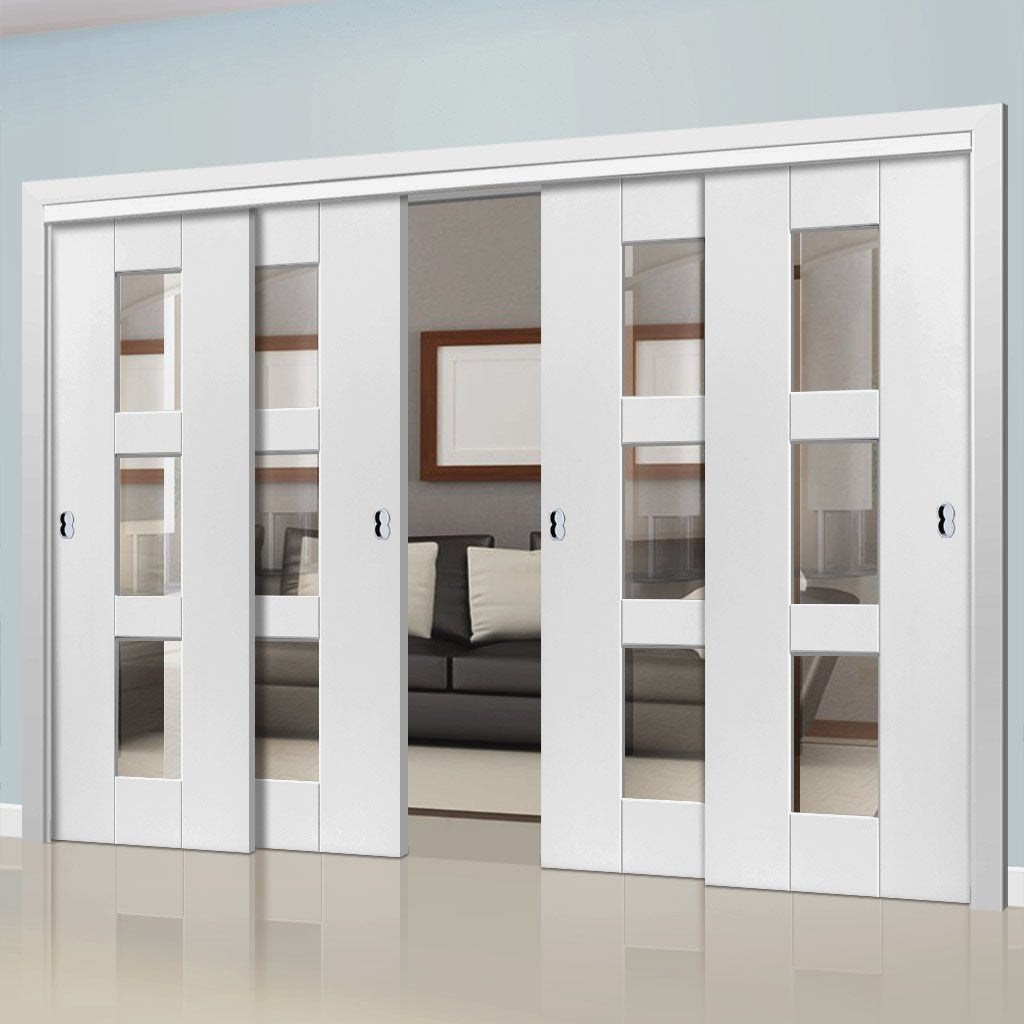 Four Sliding Doors and Frame Kit - Geo White Primed Door - Clear Glass