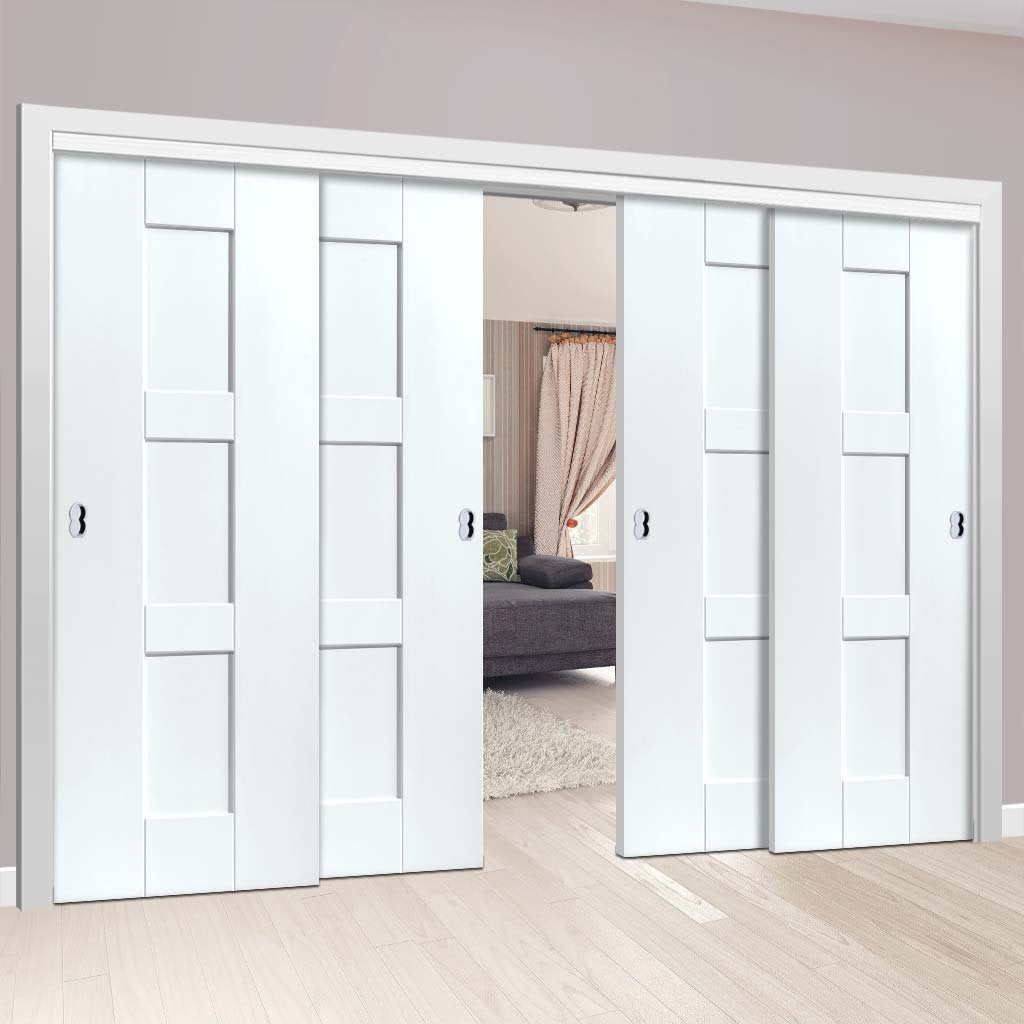 Four Sliding Doors and Frame Kit - Geo White Primed Door