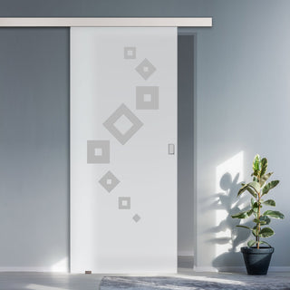 Image: Single Glass Sliding Door - Geometric Swirl 8mm Obscure Glass - Obscure Printed Design with Premium Track