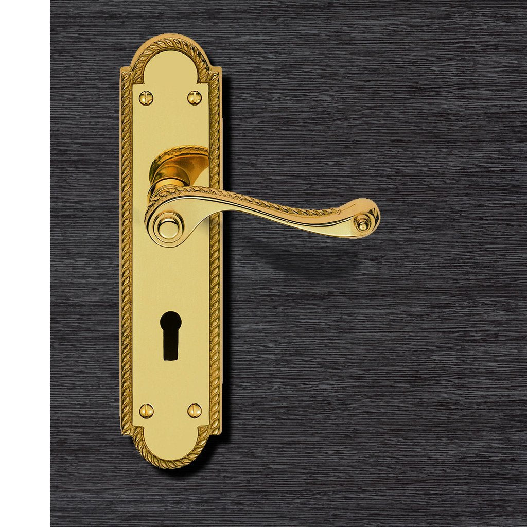 Polished Brass: FG27 Georgian Suite Shaped Lever Lock Door Handles.