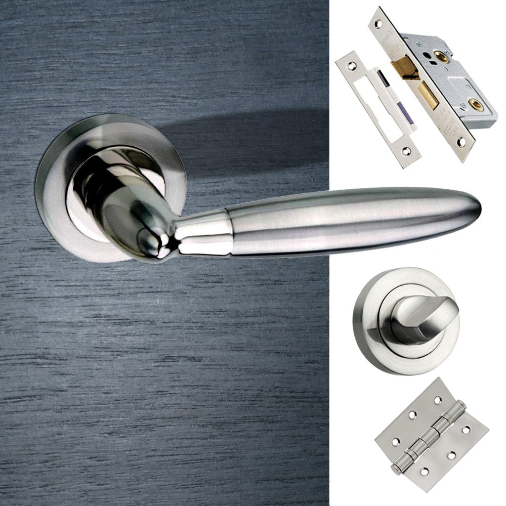 Gibraltar Mediterranean Bathroom Lever On Rose - Satin Nickel Handle Pack