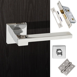 Image: Ginevra Forme Designer Bathroom Lever on Minimal Square Rose - Polished Chrome Handle Pack