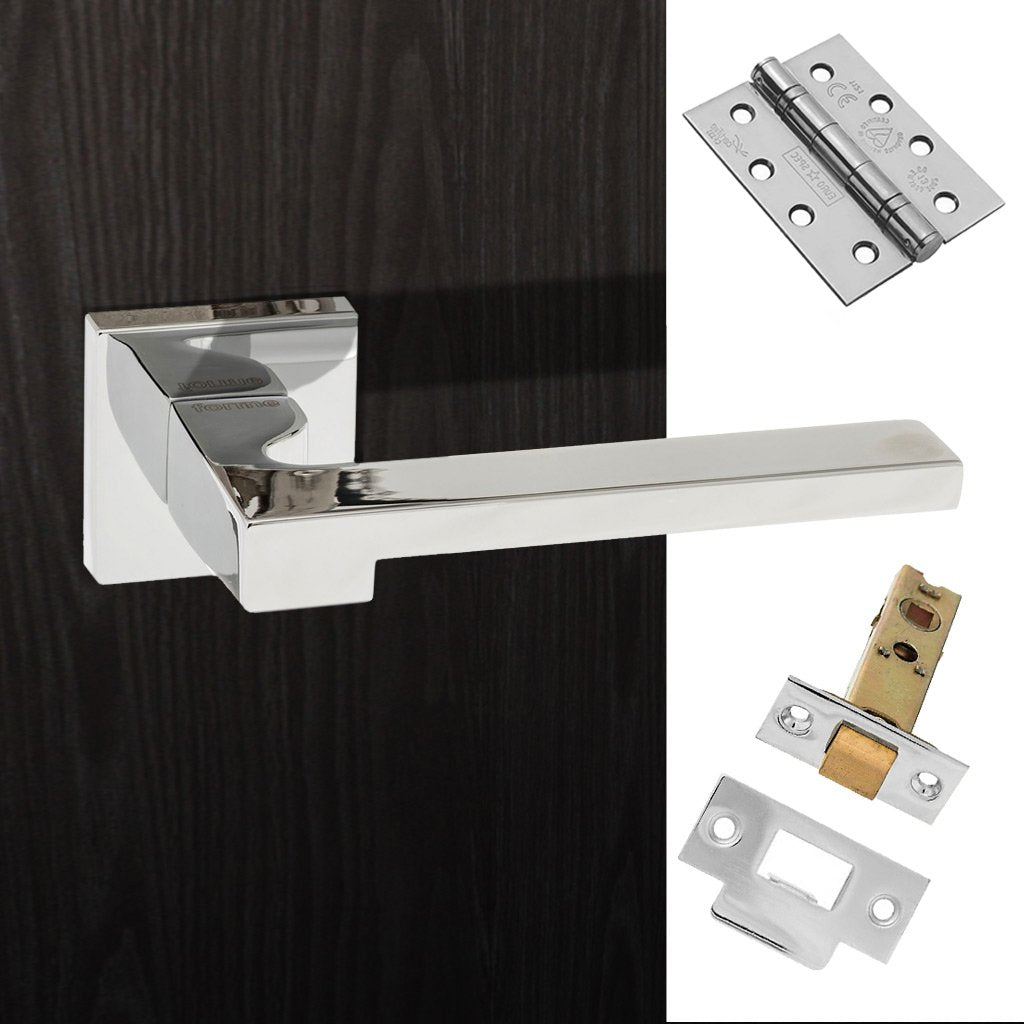 Ginevra Forme Designer Fire Lever on Minimal Square Rose - Polished Chrome Handle Pack