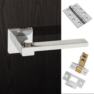 Image: Ginevra Forme Designer Fire Lever on Minimal Square Rose - Polished Chrome Handle Pack