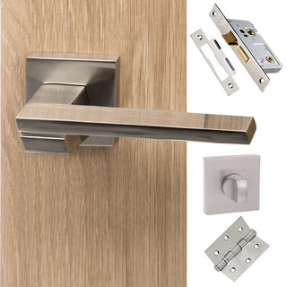 Image: Senza Pari Giovanni Bathroom Lever on Flush Rose - Satin Nickel Handle Pack